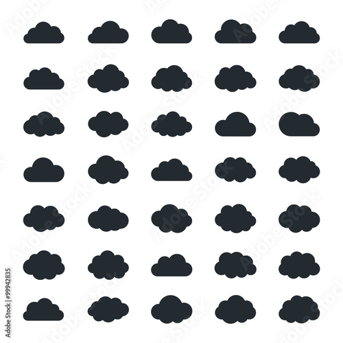Big vector set of thirty-five black cloud  shapes