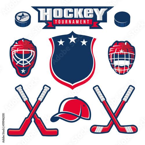 fototapeta na ścianę Hockey logo, emblem, label, badge design elements