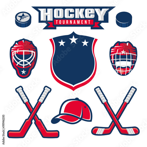 obraz PCV Hockey logo, emblem, label, badge design elements