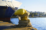 ship tied to the mooring at the port of Piraeus Greece