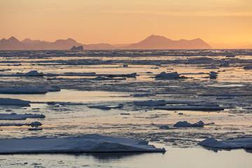 Midnight Sun - lód morski - Greenland