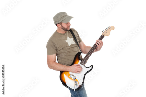 Poster Musician playing electric guitar with enthusiasm