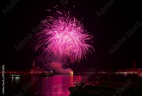 Big red fireworks explode in Venice in dark sky,New Year fireworks in Venice, 4 Poster