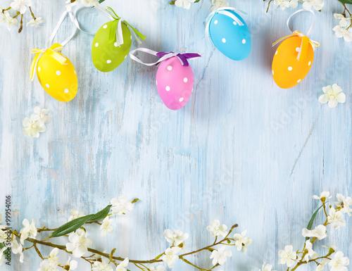 Fototapeta Easter eggs frame.