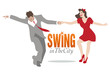 Swing in the City. Handsome man and pin-up girl dancing swing