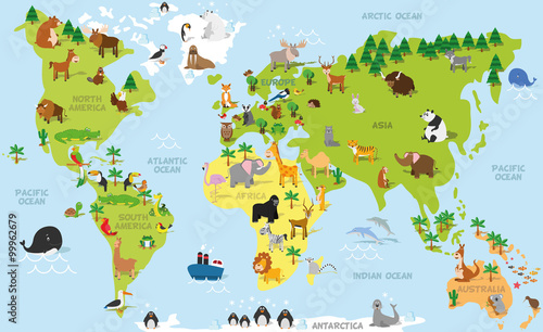 Funny cartoon world map with traditional animals of all the continents and oceans. Vector illustration for preschool education and kids design - 99962679