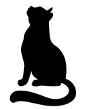 Silhouette of a cat looking up