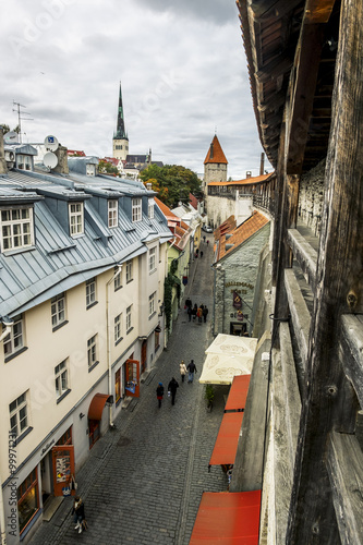View of St. Olaf  Cathedral and the streets of old Tallinn city Poster
