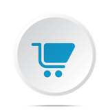 Flat blue Shopping Cart icon on circle web button on white