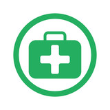 Flat green First Aid Kit icon and green circle - 99982099