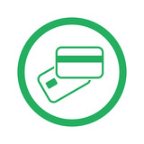 Flat green Credit Card Payment icon and green circle