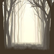 Square illustration glade in forest.