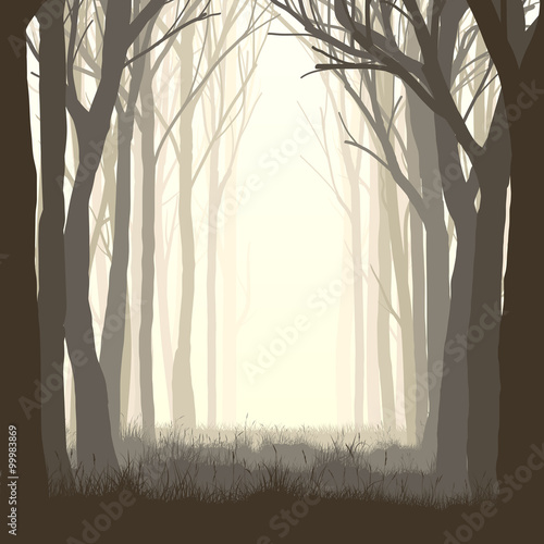 Square illustration glade in forest. - 99983869