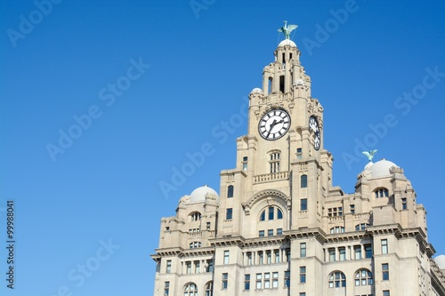 Poster The Royal Liver Building on a sunny day, Liverpool, Merseyside, UK