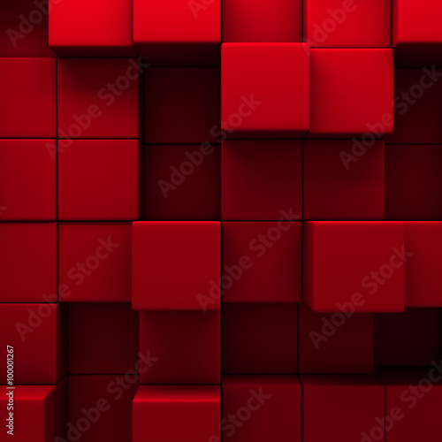 abstract red cubes wall background