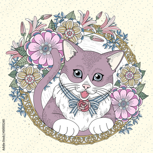 Fototapeta adorable kitty coloring page