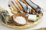 Spa products with towels,bath salt and marseille soaps