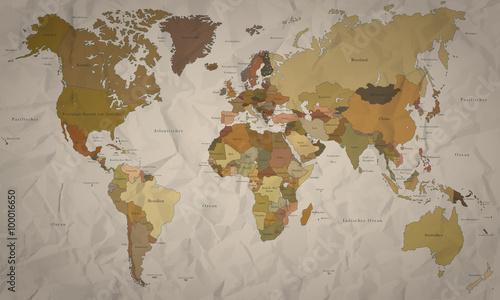 Fototapeta Weltkarte - historische Karte mit Verlauf (hoher Detailgrad)
