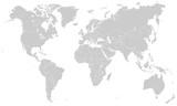 Weltkarte - Hellgrau (hoher Detailgrad)