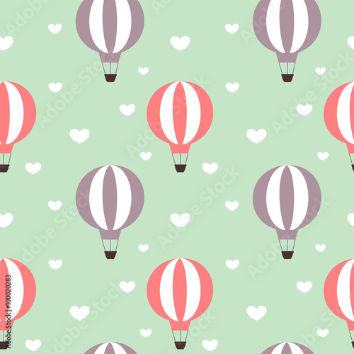hot air balloons in the sky with hearts seamless vector pattern background illustration - 100020283