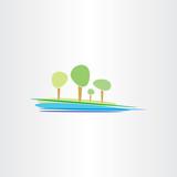 landscape river and trees vector design