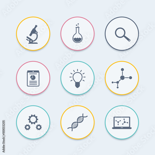 Science, research, laboratory, microscope round icons, vector illustration