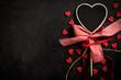 Obrazy na płótnie, fototapety, zdjęcia, fotoobrazy drukowane : Blank heart shapes chalboard