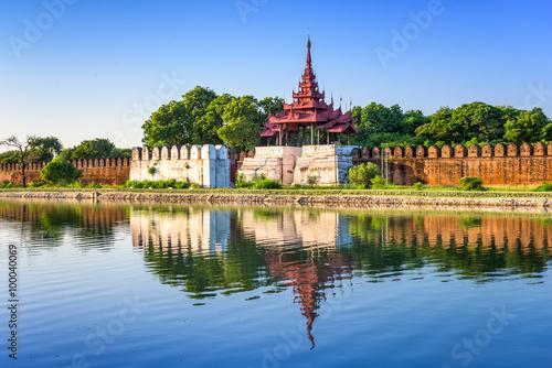 Mandalay, Myanmar at the palace wall and moat. Poster