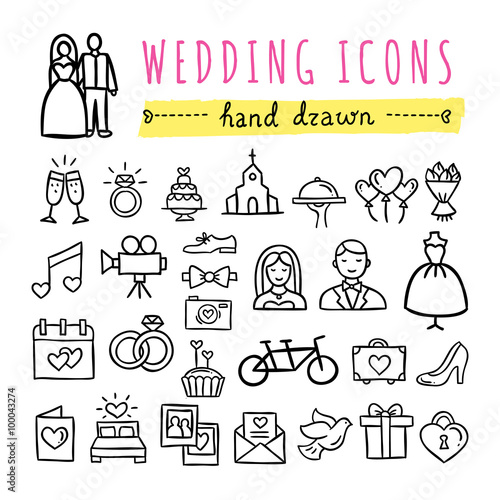 Hand Drawn Wedding Icons Marriage Bride And Groom Wedding Couple