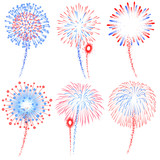 Fototapety Vector Red and Blue Fireworks Illustrations