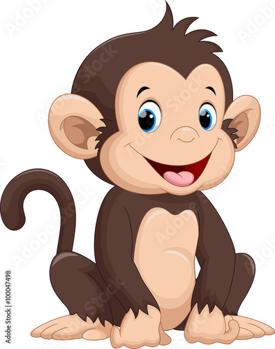 Fototapeta Cute monkey cartoon