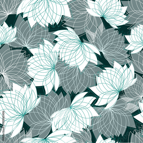 Tapeta Seamless floral pattern with lotus