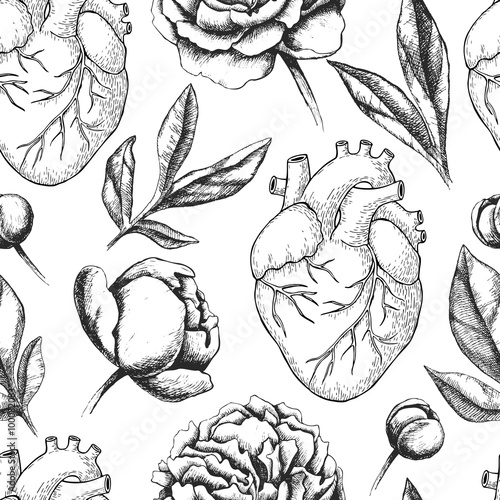 Cotton fabric Vector seamless pattern with anatomical human heart and botanica