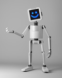happy robot presenter standing on white background 3d render
