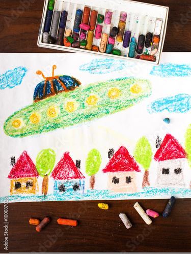 Colorful  drawing : UFO flying over the city Poster