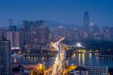 Fototapety Guangzhou, China-Jan. 7, 2015: City night view. Busy traffic sce