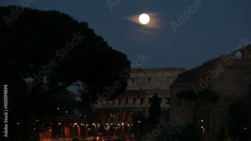 Amazing full moon over the Roman Colosseum © Stock Footage, Inc.