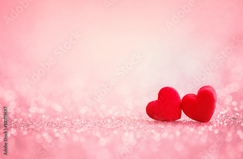 red Heart shapes for valentines day background
