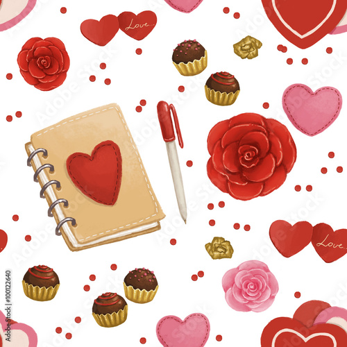 Cotton fabric Valentine's day seamless pattern