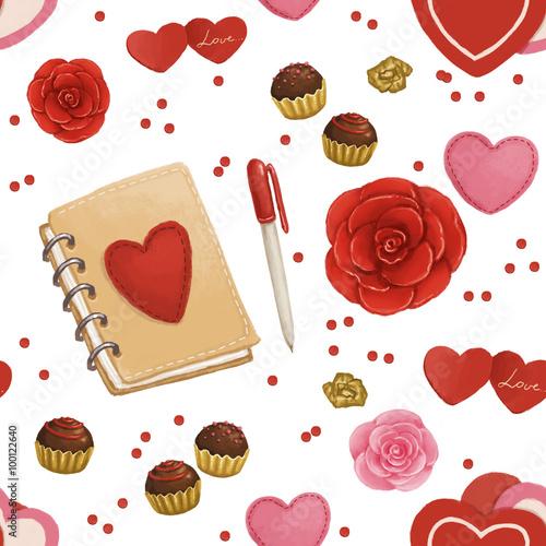 Materiał do szycia Wzór na Walentynki