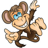 Brown Happy Monkey - Colored Cartoon Illustration, Vector