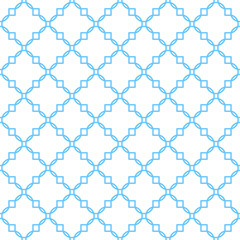 Quatrefoil classic net seamless vector pattern. Blue and white traditional moroccan simple rhomb ornament.