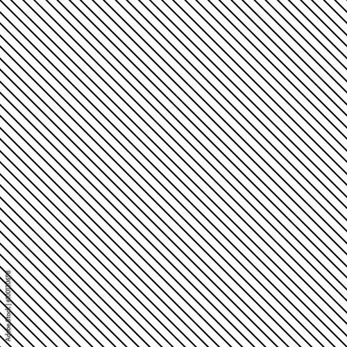 Diagonal stripe seamless pattern. Geometric classic black and white thin line background. - 100130698