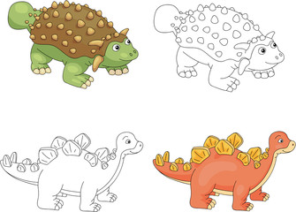Funny cute ankylosaurus and stegosaurus. Educational game for ki