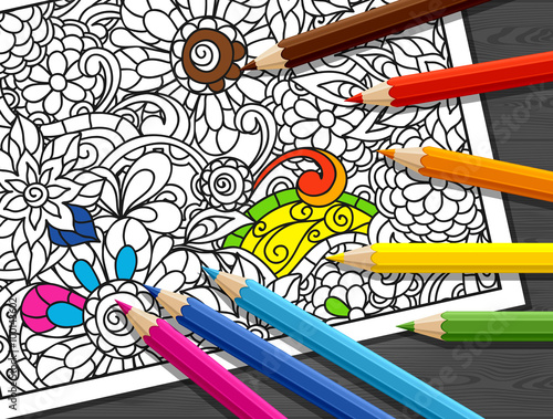 GamesAgeddon - Adult coloring concept with pencils, printed pattern ...