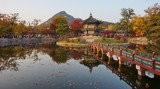 Fall colors at the Hyangwon Jeong Pavillion at the Gyeongbokgung Palace in Seoul, South Korea
