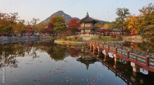 Fall colors at the Hyangwon Jeong Pavillion at the Gyeongbokgung Palace in Seoul, South Korea