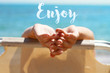 Enjoy summer holiday, vacation.Inspirational motivational poster Enjoy.