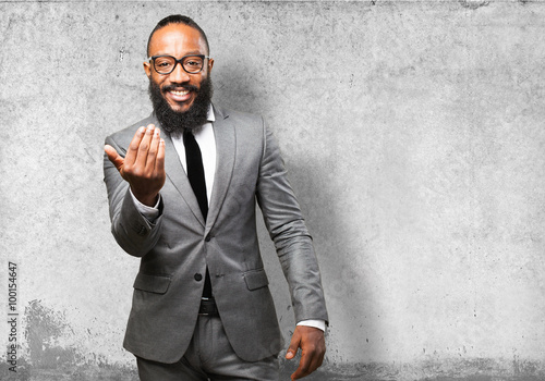 business black man come here gesture Poster