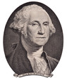 US president George Washington portrait on the one dollar bill macro isolated, united states money closeup